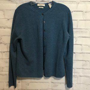 VALERIE STEVENS Blue Cashmere Button Up Sweater